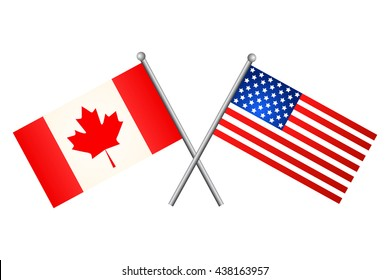 Canada usa flag images stock photos vectors shutterstock american and canadian flags vector illustration publicscrutiny Image collections