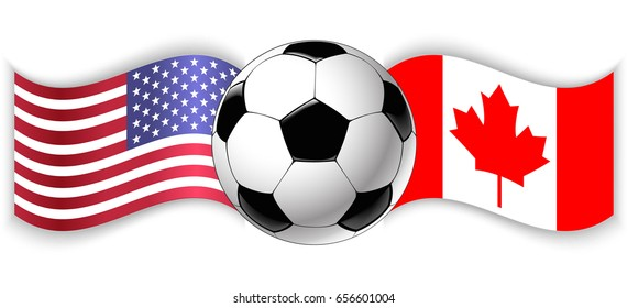 American and Canadian wavy flags with football ball. United States of America combined with Canada isolated on white. Football match or international sport competition concept.