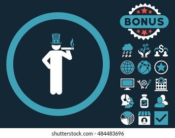 American Capitalist icon with bonus images. Vector illustration style is flat iconic bicolor symbols, blue and white colors, dark blue background.