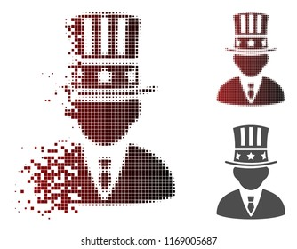 American capitalist icon in dispersed, pixelated halftone and undamaged entire variants. Particles are organized into vector dispersed American capitalist icon.