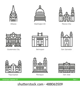 American Capitals (Part 1) - Line Style Icon Set
