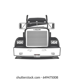 American Cargo Truck Isolated on White. Freight Solutions. Trucking Logo Detailed.