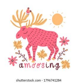 American Cartoon red moose vector for decoration design. Symbol, logo illustration. Funny cartoon character.
