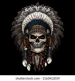 american chief with skull face