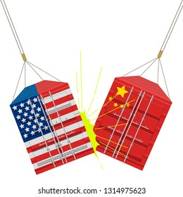 American and chinese containers crashing. Vector illustration design