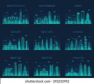 American cities. San Francisco, New York, Chicago, Los Angeles, Miami, Atlanta, Boston, Seattle, Denver skylines, detailed silhouette. Trendy vector illustration, linear style.
