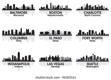 American cities skyline set 2