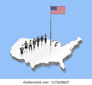 American citizens voting for USA election over an 3D US map with Flagpole. All the objects, shadows and background are in different layers.
