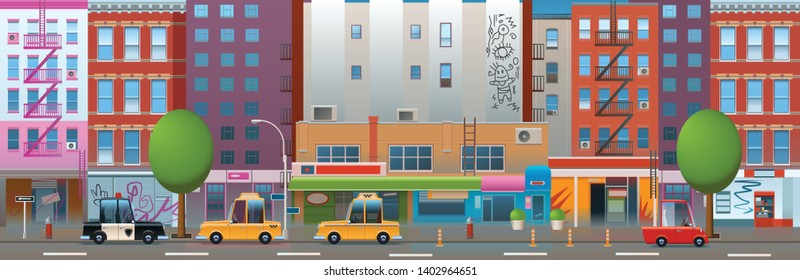 American cityscape with old and cute apartment houses. City panoramic street seamless background in flat style.