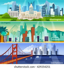 American Cityscapes Flat Horizontal Banner Set Isolated Vector Illustration