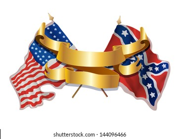 American Civil War.War between the States.vector illustration with two flags of the north and the south