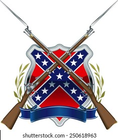 american civil war confederate flag with musket and bayonet