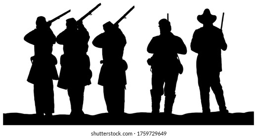 American Civil War soldiers vector graphic illustration black silhouette on white background