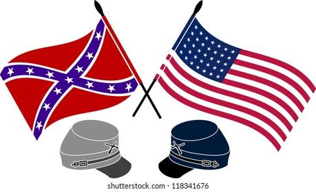 American Civil War. stencil. first variant. vector illustration
