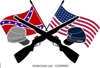 American Civil War. stencil. second variant. vector illustration