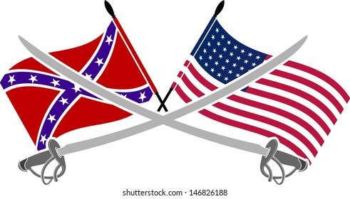 american civil war. stencil. seventh variant. vector illustration