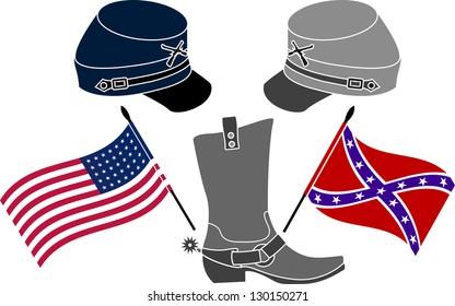 american civil war. stencil. third variant. vector illustration