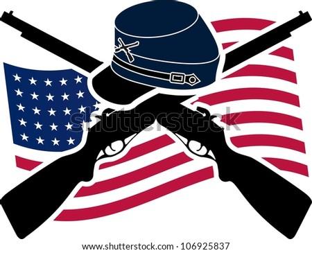 American Civil War Union Stencil Stock Vector Royalty Free