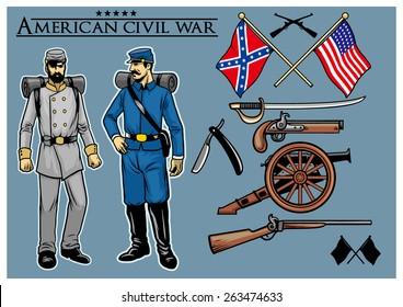 american civil war vector set