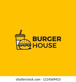 American classic burger house logo. Logotype for restaurant or cafe or fast food. Vector illustration