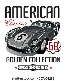 American classic car vector design. T shirt graphic.