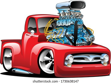 American classic hot rod pickup truck cartoon illustration with huge chrome engine, red hot paint, big tires and chrome rims, cool low rider stance.
