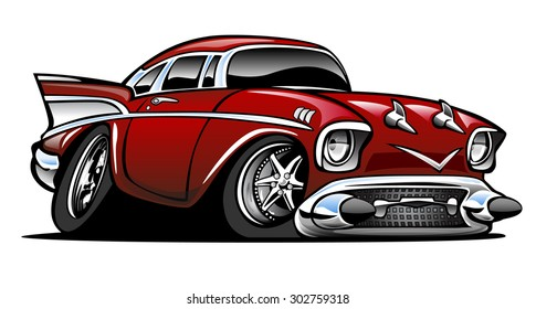 American classic muscle car hot rod cartoon. Red, lots of chrome, aggressive stance, low profile, big tires and rims.
