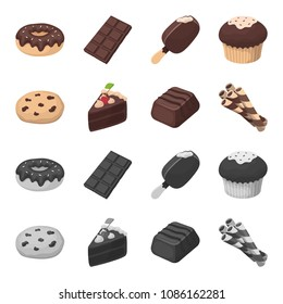 American cookies, a piece of cake, candy, wafer tubule. Chocolate desserts set collection icons in cartoon,monochrome style vector symbol stock illustration web.