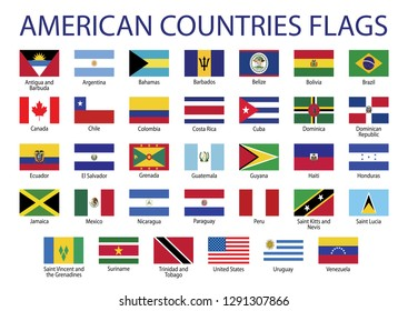 American countries flag set All North, Central and South America Vector EPS 10
