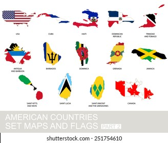 American countries set, maps and flags, part 2