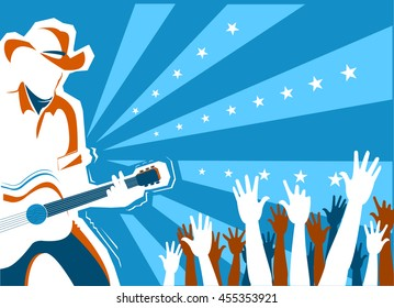 American Country music concert with singer and guitar.Vector background illustration