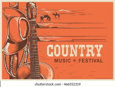 American country music poster with cowboy hat and guitar on vintage landscape background