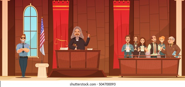 American court of law judicial legal proceedings in courthouse with judge   and jury box retro poster vector illustration