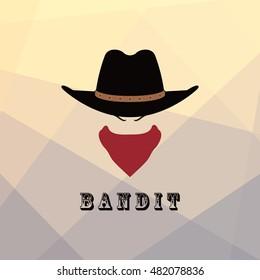 American cowboy head. Bandit Texas icon. Vector illustration.