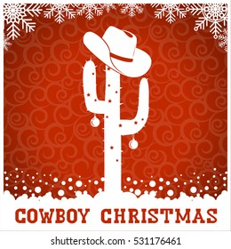 American Cowboy red christmas card with text and holiday decoration.Vector western american illustration