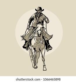 American cowboy riding horse. Hand drawn vector illustration. Hand sketch. Illustration.