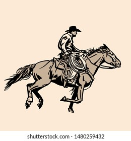 American cowboy riding horse with hat and lasso. Hand drawn vector illustration. Hand sketch. Illustration.