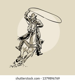 American cowboy riding horse and throwing lasso. Hand drawn vector illustration. Hand sketch. Illustration.