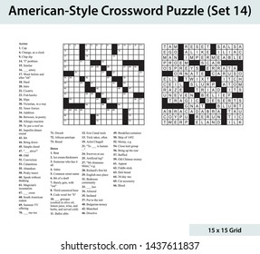 American crossword puzzle with a 15 x 15 grid. Includes blank crossword grid, clues, and solution.