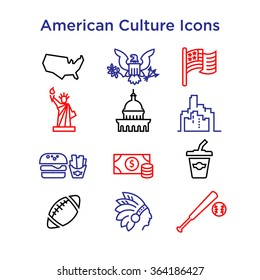 American Culture Icons, Culture Signs of the USA, Traditions of America, US Life, National Objects of USA, Colored Line Icons, Colored Stroke Icons, American Culture Line Color Icons