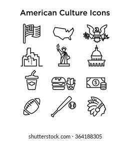 American Culture Icons, Culture Signs of the USA, Traditions of America, US Life, National Objects of USA, Black Line Icons, BlackStroke Icons, American Culture Line Black Icons