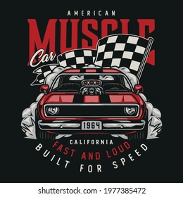 American custom car colorful vintage print with letterings classic muscle car and racing checkered flag isolated vector illustration