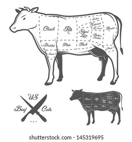 Cow diagram images stock photos vectors shutterstock american cuts of beef ccuart Gallery