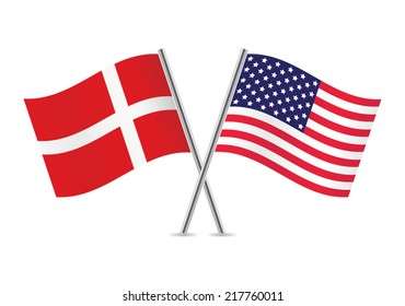 American and Danish flags. Vector illustration.