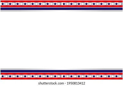American decorative abstract flag symbols frame banner border with an empty space for text.