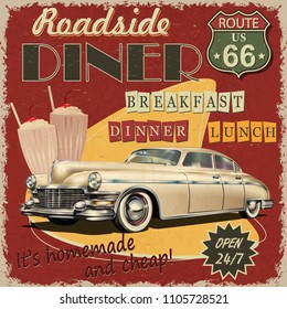 Visions of Roadside America Car Poster Metro Diner Route 66
