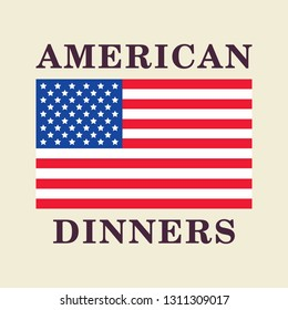 American Dinners - Restaurant menu graphic element.