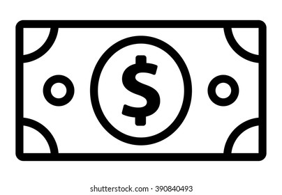 American dollar bill line art vector icon for financial apps and websites