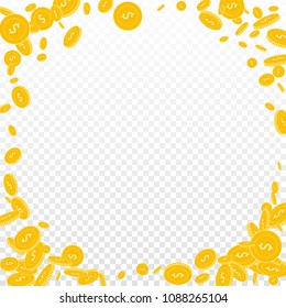 American dollar coins falling. Scattered disorderly USD coins on transparent background. Posh corner frame vector illustration. Jackpot or success concept.
