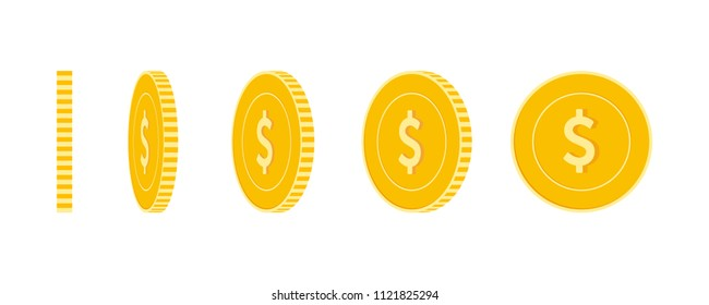 American dollar coins set, animation ready. USD yellow coins rotation. USA metal money in different positions isolated. Glamorous cartoon vector illustration.
